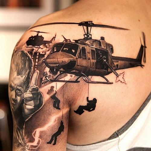 татуировка вертолет