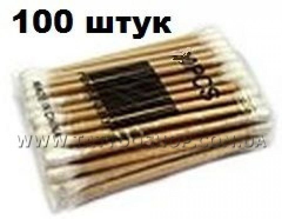 Двухсторонние ватные,деревянные палочки.100 шт.