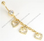 TRIPLE Heart Crystal Jewels GOLD TONE подвеска в пуп.1,6 мм.1 шт.