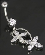 Round Cut Crystal 6mm Stone with Double Flower CZ Petals Belly Jewelry.