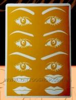 Эмитация кожи с эскизами бровей,глаз и губ.20х15 см.